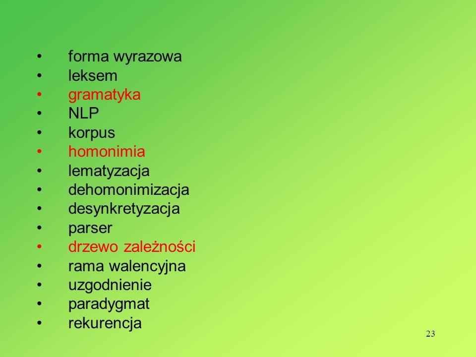 23 forma wyrazowa leksem gramatyka NLP korpus homonimia lematyzacja dehomonimizacja desynkretyzacja parser drzewo zależności rama walencyjna uzgodnienie paradygmat rekurencja
