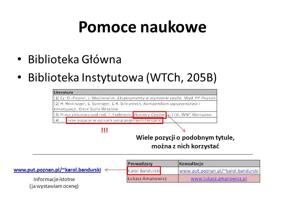 Pomoce naukowe Biblioteka Główna Biblioteka Instytutowa (WTCh, 205B) Wiele pozycji o podobnym tytule, można z nich korzystać www.put.poznan.pl/~karol.bandurski !!.