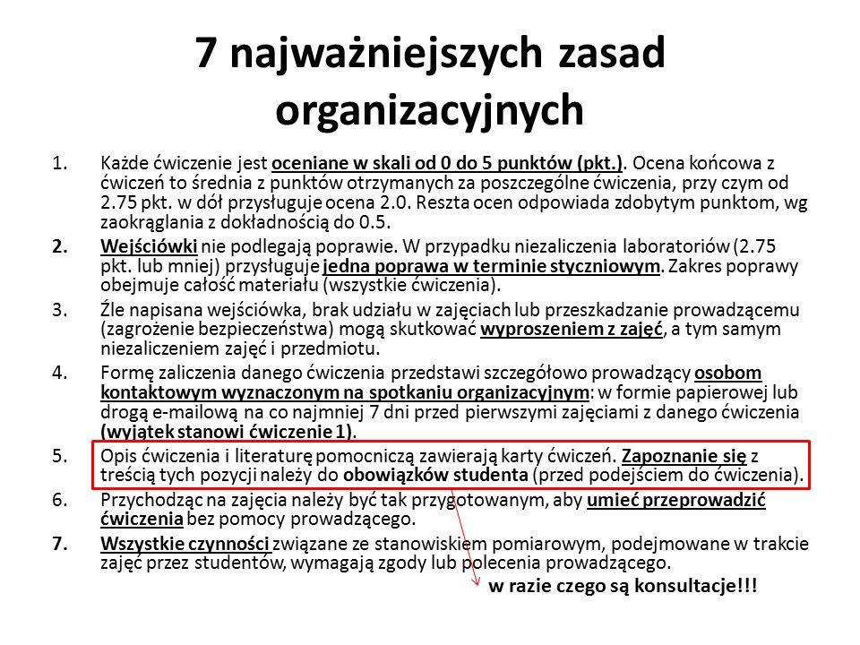 7 najważniejszych zasad organizacyjnych 1.Każde ćwiczenie jest oceniane w skali od 0 do 5 punktów (pkt.).