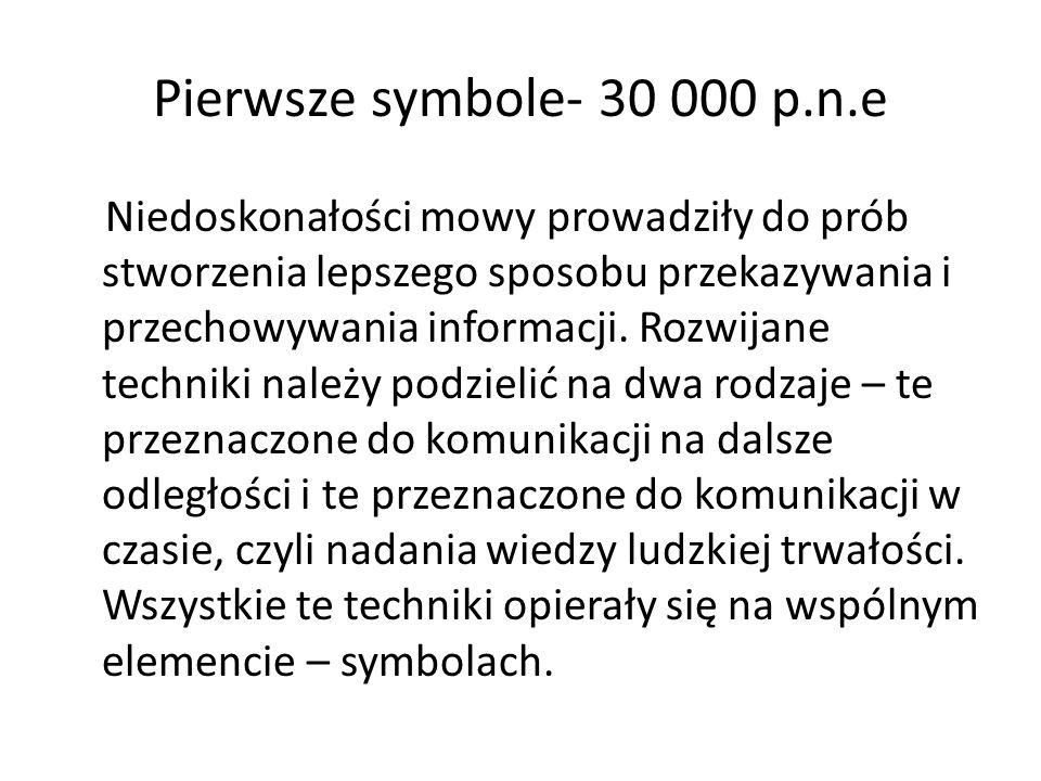 Pierwsze symbole- 30 000 p.n.e Niedoskonałości mowy prowadziły do prób stworzenia lepszego sposobu przekazywania i przechowywania informacji. Rozwijan