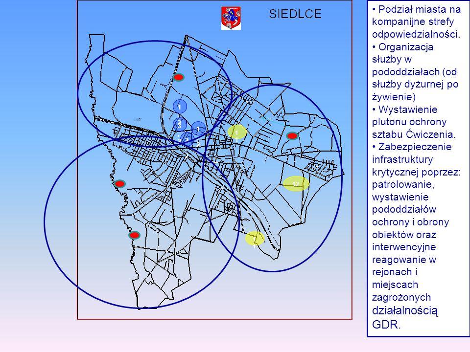 12 1,21,2 2,22,2 3,23,2 1,21,2 1 1 Podział miasta na kompanijne strefy odpowiedzialności. Organizacja służby w pododdziałach (od służby dyżurnej po ży