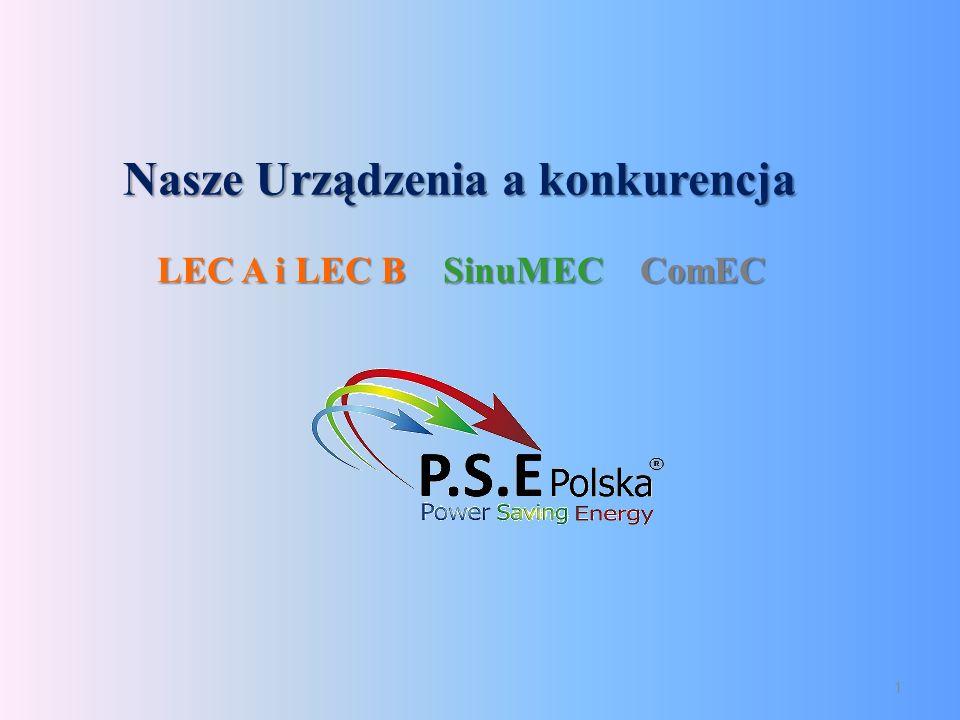 Nasze Urządzenia a konkurencja 1 LEC A i LEC B SinuMEC ComEC LEC A i LEC B SinuMEC ComEC