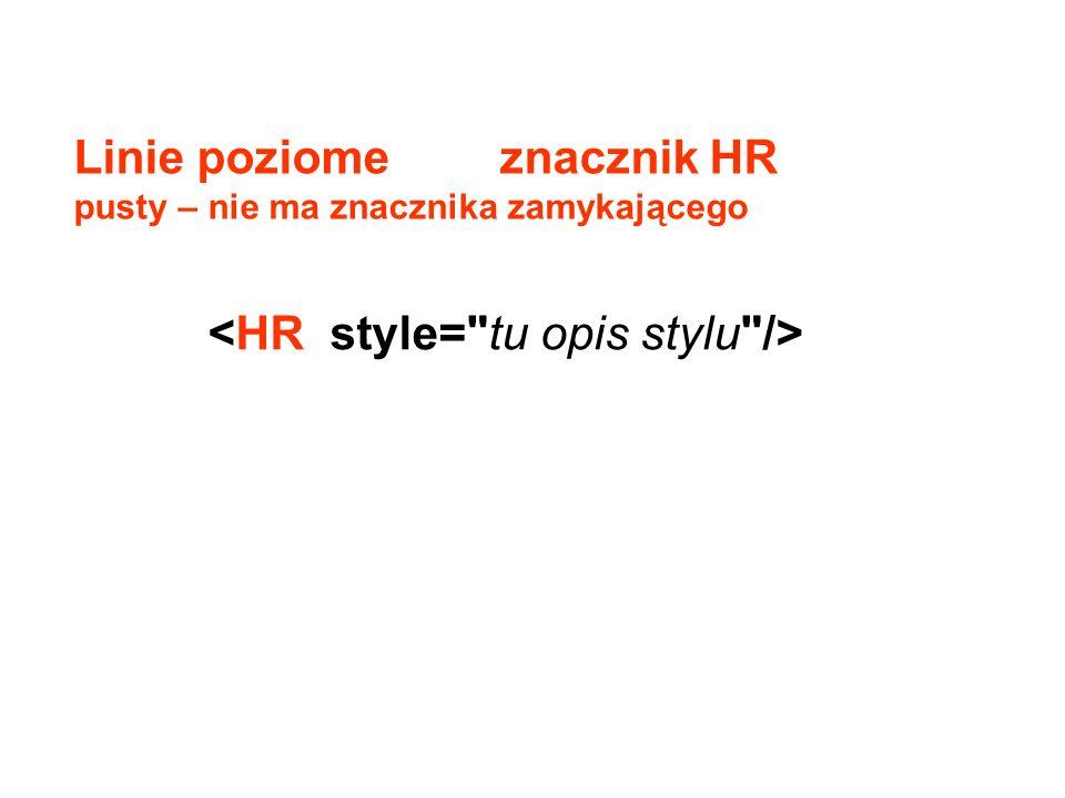 Linie poziome znacznik HR pusty – nie ma znacznika zamykającego