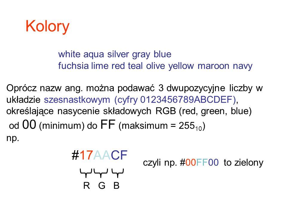 Oprócz nazw ang. można podawać 3 dwupozycyjne liczby w układzie szesnastkowym (cyfry 0123456789ABCDEF), określające nasycenie składowych RGB (red, gre