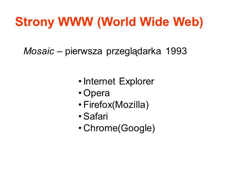 Strony WWW (World Wide Web) Mosaic – pierwsza przeglądarka 1993 Internet Explorer Opera Firefox(Mozilla) Safari Chrome(Google)
