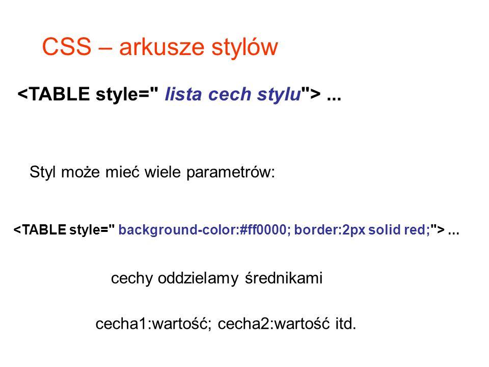 CSS – arkusze stylów Styl może mieć wiele parametrów:... cechy oddzielamy średnikami cecha1:wartość; cecha2:wartość itd.
