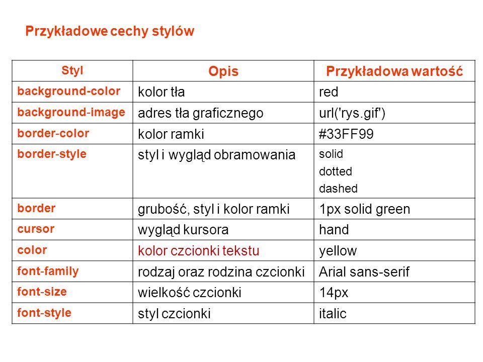 Styl OpisPrzykładowa wartość background-color kolor tłared background-image adres tła graficznegourl( rys.gif ) border-color kolor ramki#33FF99 border-style styl i wygląd obramowania solid dotted dashed border grubość, styl i kolor ramki1px solid green cursor wygląd kursorahand color kolor czcionki tekstuyellow font-family rodzaj oraz rodzina czcionkiArial sans-serif font-size wielkość czcionki14px font-style styl czcionkiitalic Przykładowe cechy stylów