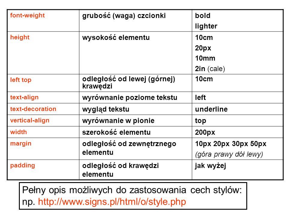 font-weight grubość (waga) czcionkibold lighter height wysokość elementu10cm 20px 10mm 2in (cale) left top odległość od lewej (górnej) krawędzi 10cm t