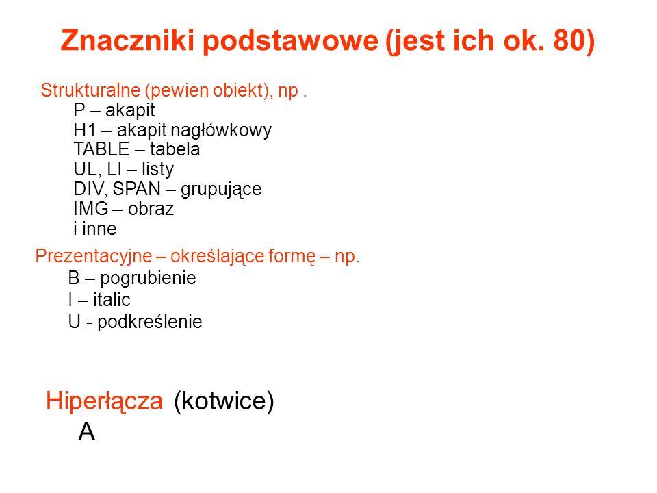 Zagnieżdżanie znaczników Tekst1 Tekst2 Tekst 3 Tekst1 Tekst2Tekst3 obrazek w komórce tabeli np.