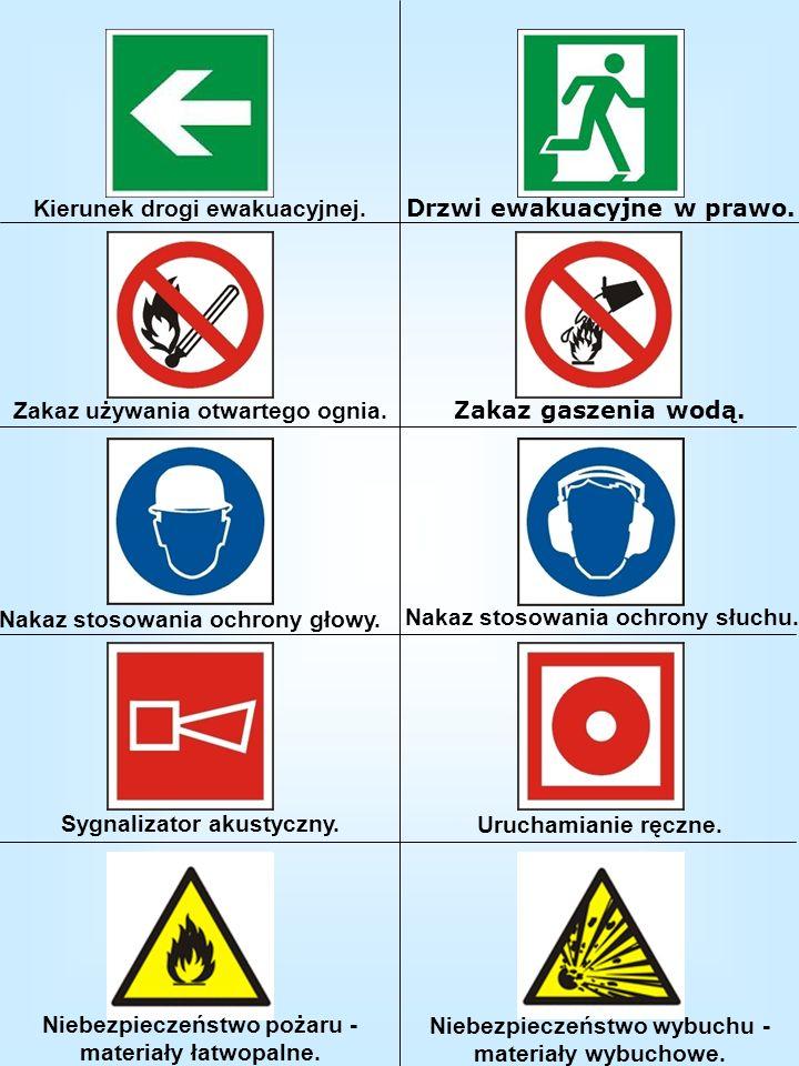 Kierunek drogi ewakuacyjnej. Drzwi ewakuacyjne w prawo.
