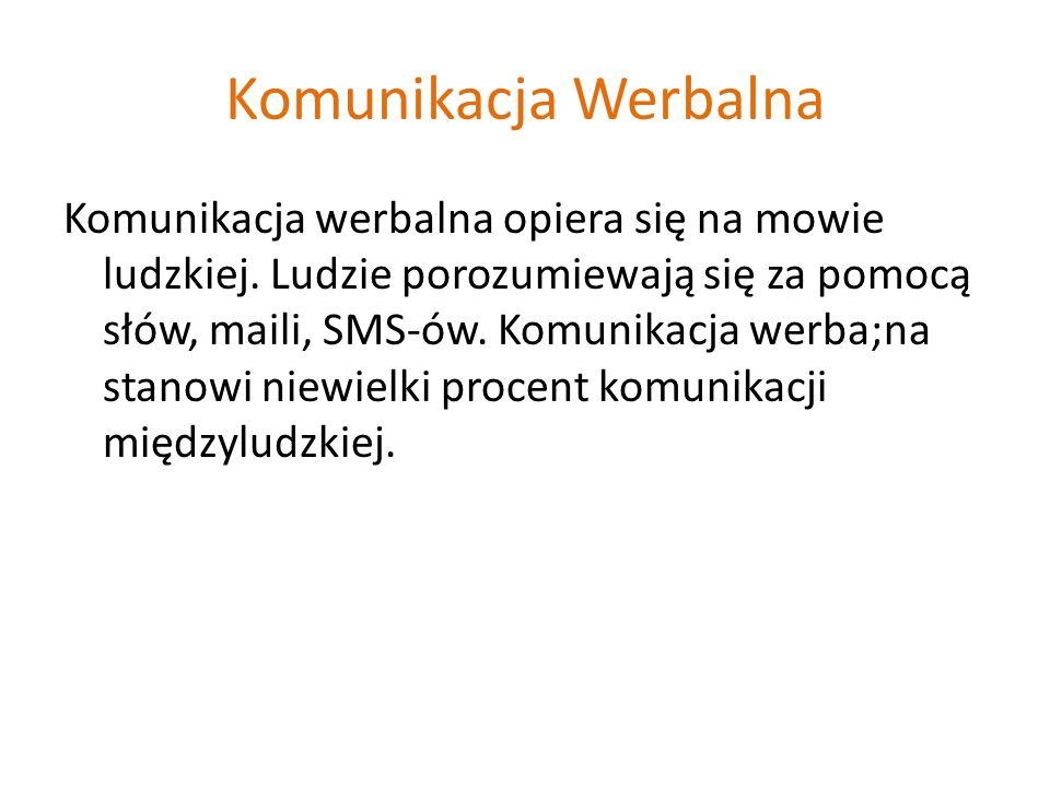 Komunikacja Werbalna Komunikacja werbalna opiera się na mowie ludzkiej.
