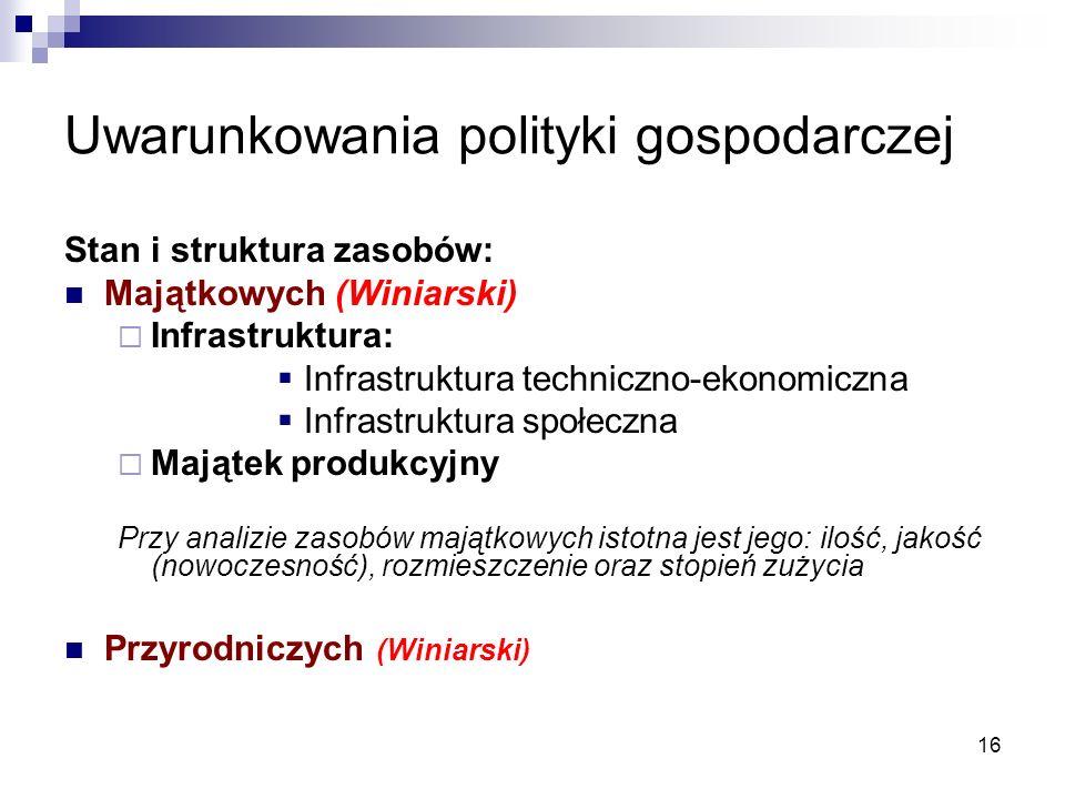 16 Uwarunkowania polityki gospodarczej Stan i struktura zasobów: Majątkowych (Winiarski)  Infrastruktura:  Infrastruktura techniczno-ekonomiczna  I