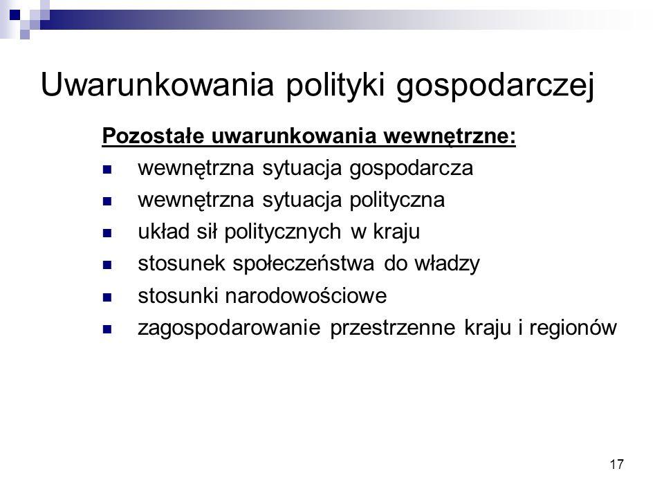 17 Uwarunkowania polityki gospodarczej Pozostałe uwarunkowania wewnętrzne: wewnętrzna sytuacja gospodarcza wewnętrzna sytuacja polityczna układ sił po
