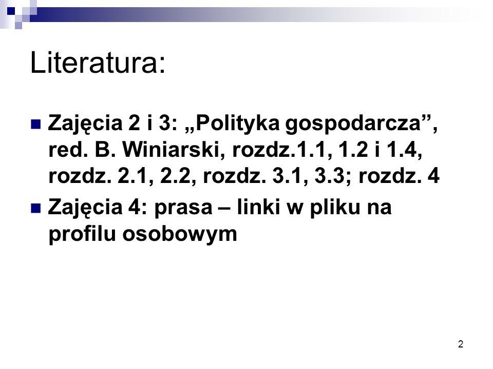 """2 Literatura: Zajęcia 2 i 3: """"Polityka gospodarcza"""", red. B. Winiarski, rozdz.1.1, 1.2 i 1.4, rozdz. 2.1, 2.2, rozdz. 3.1, 3.3; rozdz. 4 Zajęcia 4: pr"""