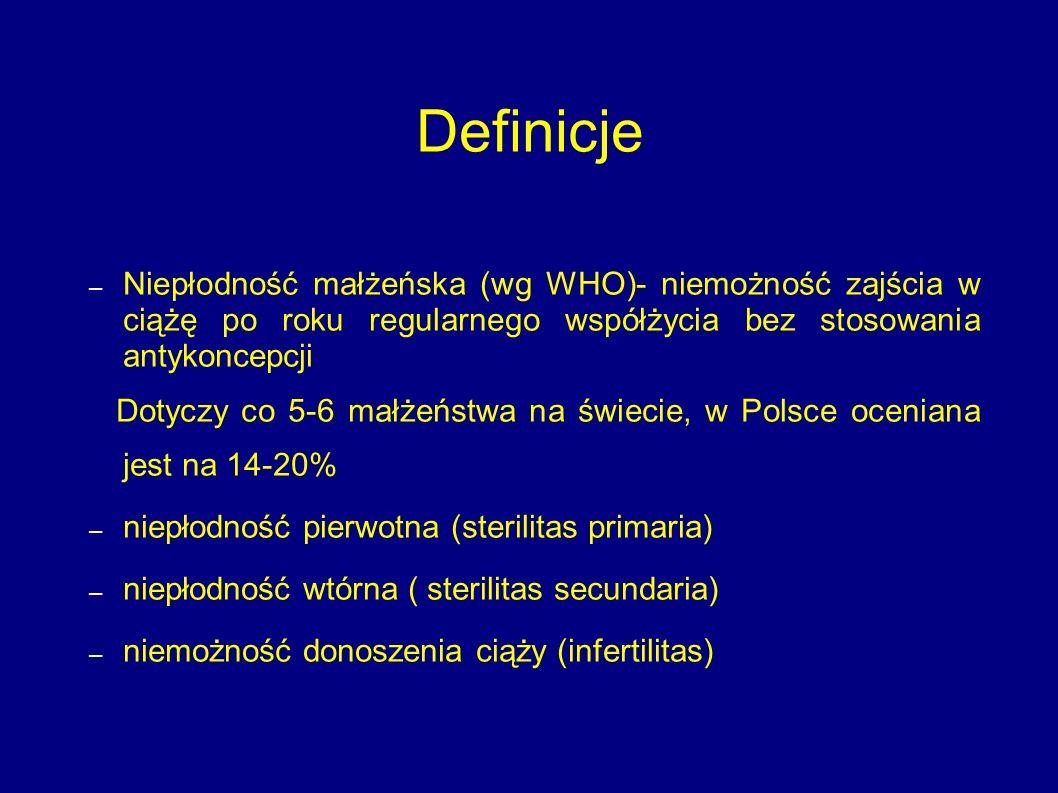 Definicje – Niepłodność małżeńska (wg WHO)- niemożność zajścia w ciążę po roku regularnego współżycia bez stosowania antykoncepcji Dotyczy co 5-6 małż
