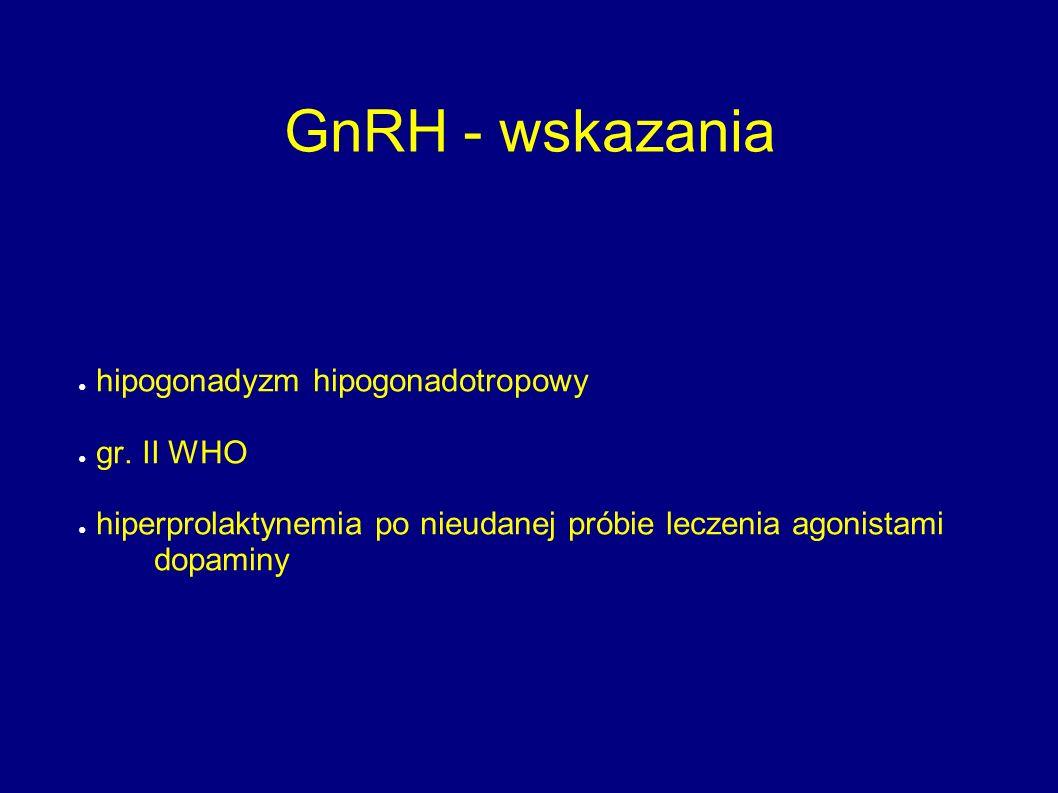 GnRH - wskazania ● hipogonadyzm hipogonadotropowy ● gr. II WHO ● hiperprolaktynemia po nieudanej próbie leczenia agonistami dopaminy