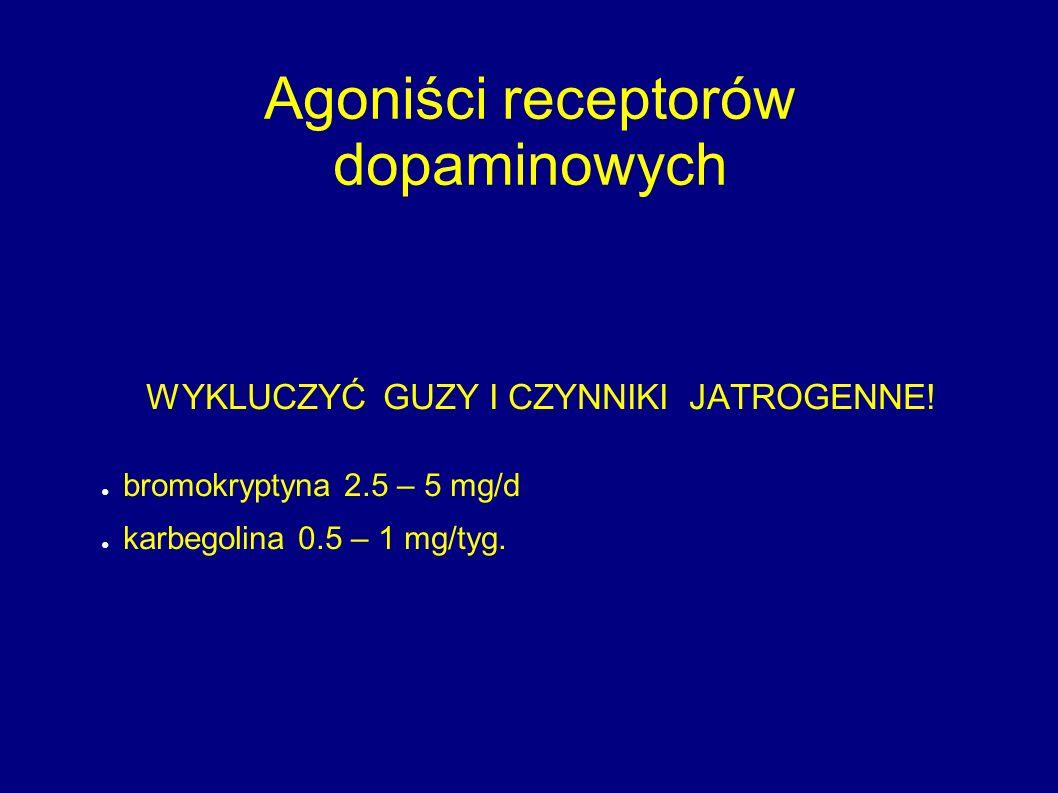 Agoniści receptorów dopaminowych WYKLUCZYĆ GUZY I CZYNNIKI JATROGENNE! ● bromokryptyna 2.5 – 5 mg/d ● karbegolina 0.5 – 1 mg/tyg.
