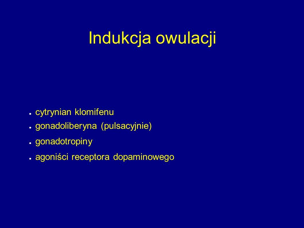 Indukcja owulacji ● cytrynian klomifenu ● gonadoliberyna (pulsacyjnie) ● gonadotropiny ● agoniści receptora dopaminowego