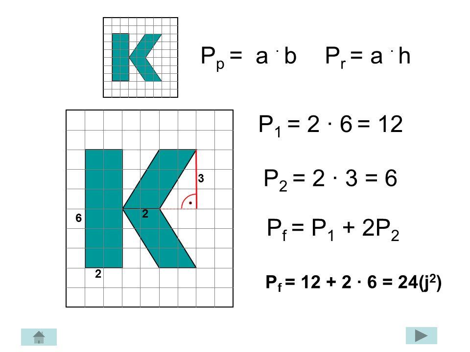 P t = ½ a · b 7 5 P 1 = ½ · 7 · 5 = 17,5 2 P 2 = ½ · 7 · 2 = 7 P f = P 1 – P 2 P f = 17,5 – 7 = 10,5 (j 2 )