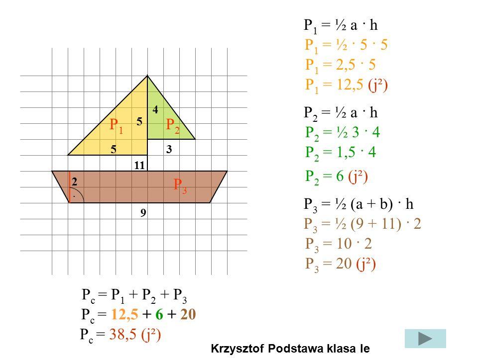 P p = a · bP r = a · h 2 6 P 1 = 2 · 6 = 12 2 3 P 2 = 2 · 3 = 6 P f = P 1 + 2P 2 P f = 12 + 2 · 6 = 24(j 2 )