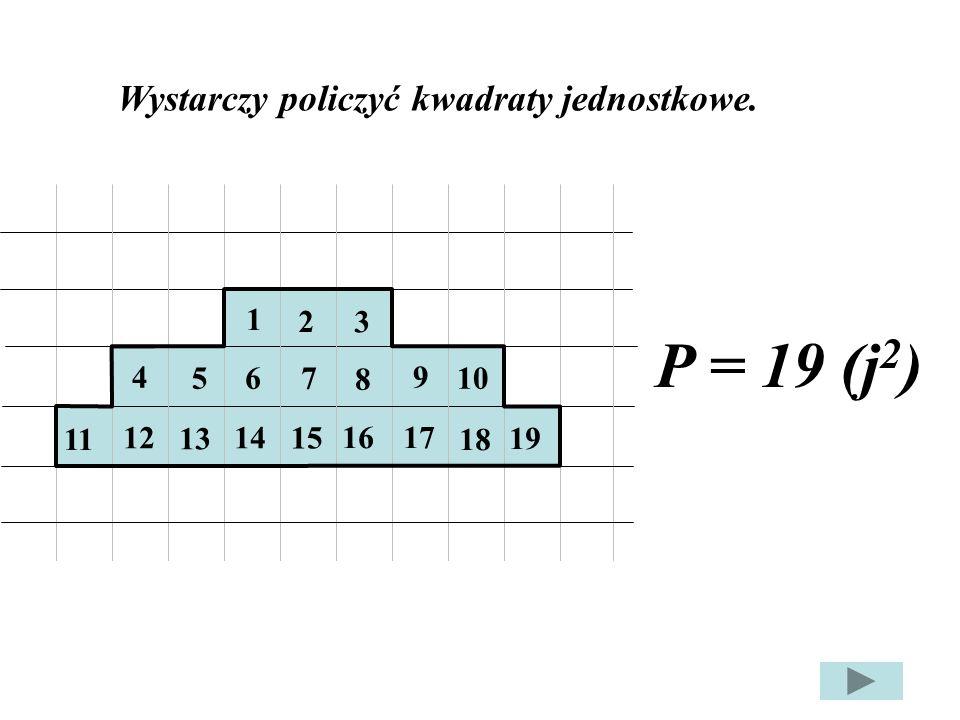 9 11 5 5 3 4 P c = P 1 + P 2 + P 3 P 1 = ½ a · h P 1 = ½ · 5 · 5 P 1 = 2,5 · 5 P 1 = 12,5 (j²) P 2 = ½ a · h P 2 = ½ 3 · 4 P 2 = 1,5 · 4 P 2 = 6 (j²).