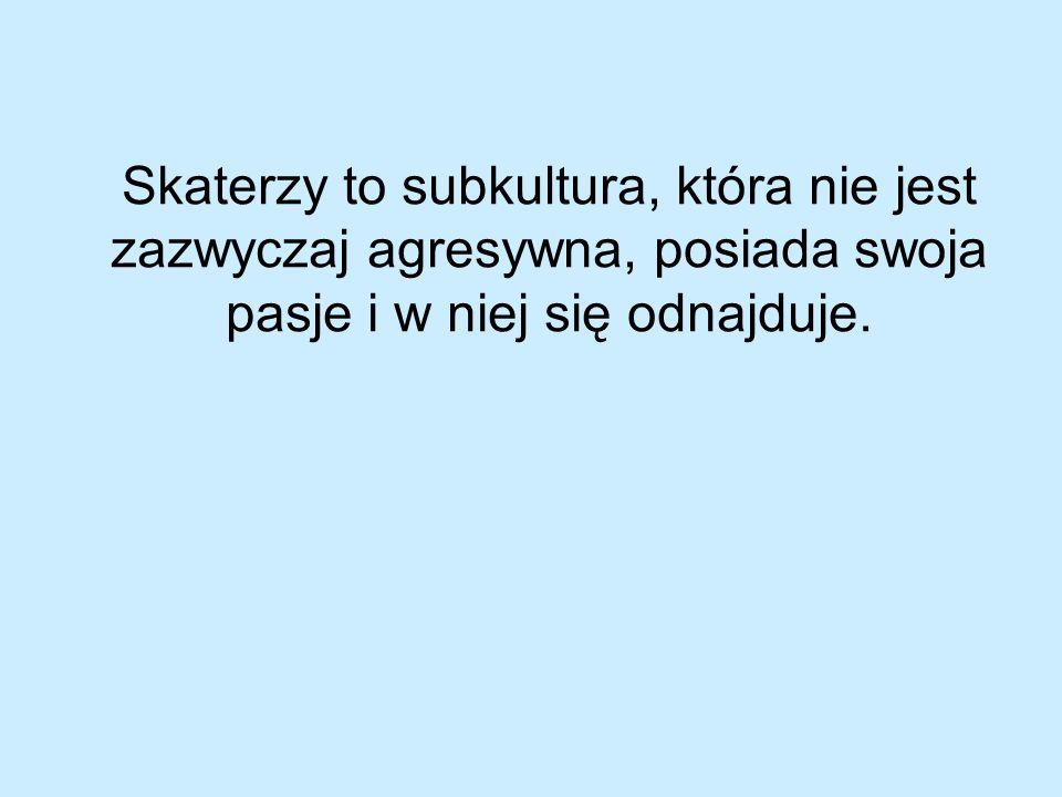 Skaterzy to subkultura, która nie jest zazwyczaj agresywna, posiada swoja pasje i w niej się odnajduje.