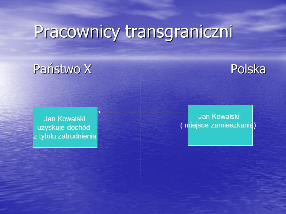 Pracownicy transgraniczni Pracownicy transgraniczni Państwo X Polska Państwo X Polska Jan Kowalski uzyskuje dochód z tytułu zatrudnienia Jan Kowalski ( miejsce zamieszkania)