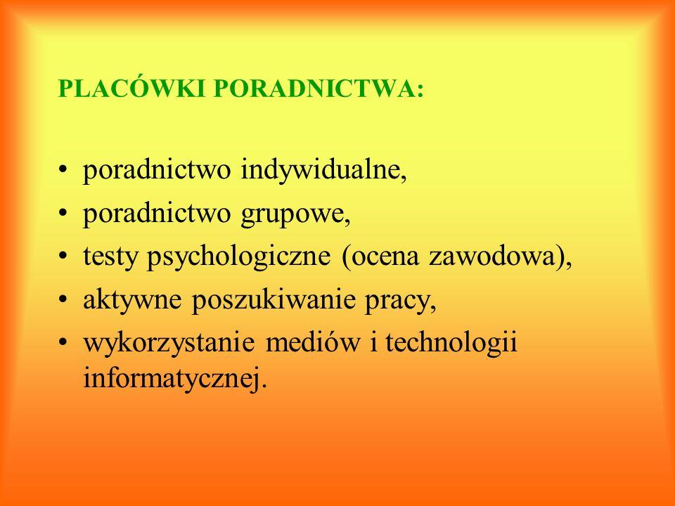 PLACÓWKI PORADNICTWA: poradnictwo indywidualne, poradnictwo grupowe, testy psychologiczne (ocena zawodowa), aktywne poszukiwanie pracy, wykorzystanie