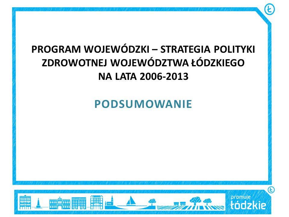 PROGRAM WOJEWÓDZKI – STRATEGIA POLITYKI ZDROWOTNEJ WOJEWÓDZTWA ŁÓDZKIEGO NA LATA 2006-2013 PODSUMOWANIE