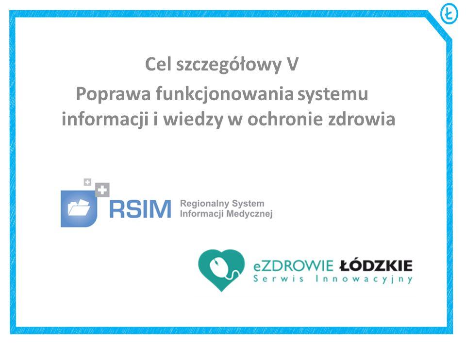 Cel szczegółowy V Poprawa funkcjonowania systemu informacji i wiedzy w ochronie zdrowia