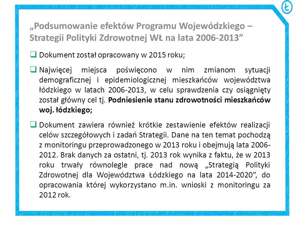  Dokument został opracowany w 2015 roku;  Najwięcej miejsca poświęcono w nim zmianom sytuacji demograficznej i epidemiologicznej mieszkańców wojewód