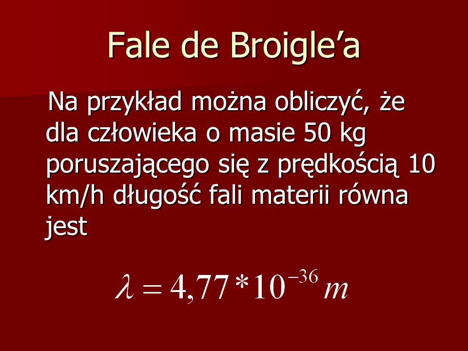 Fale de Broigle'a Na przykład można obliczyć, że dla człowieka o masie 50 kg poruszającego się z prędkością 10 km/h długość fali materii równa jest Na przykład można obliczyć, że dla człowieka o masie 50 kg poruszającego się z prędkością 10 km/h długość fali materii równa jest