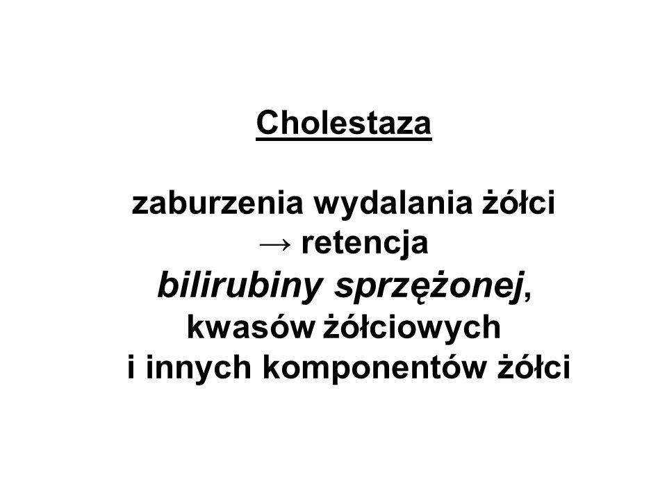 Cholestaza zaburzenia wydalania żółci → retencja bilirubiny sprzężonej, kwasów żółciowych i innych komponentów żółci