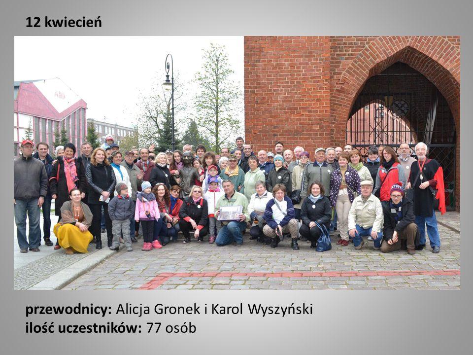 12 kwiecień przewodnicy: Alicja Gronek i Karol Wyszyński ilość uczestników: 77 osób