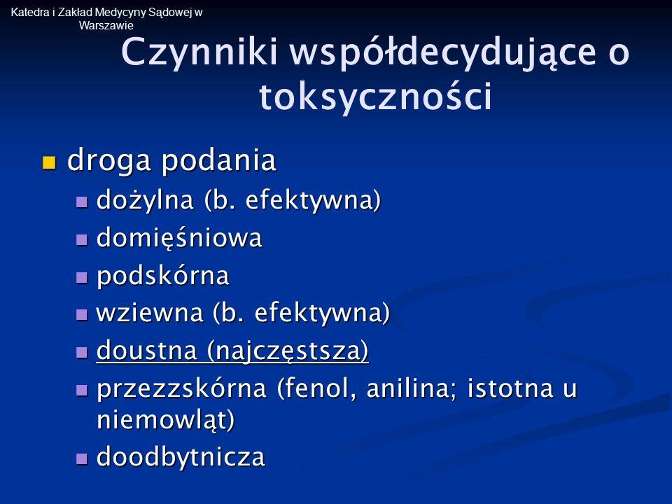 Katedra i Zakład Medycyny Sądowej w Warszawie Czynniki współdecydujące o toksyczności droga podania droga podania dożylna (b. efektywna) dożylna (b. e