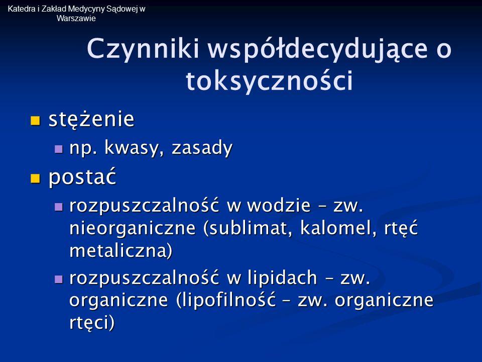 Katedra i Zakład Medycyny Sądowej w Warszawie Czynniki współdecydujące o toksyczności stężenie stężenie np. kwasy, zasady np. kwasy, zasady postać pos