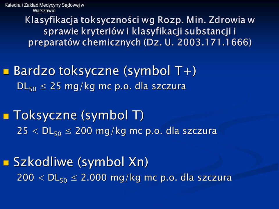 Katedra i Zakład Medycyny Sądowej w Warszawie Klasyfikacja toksyczności wg Rozp. Min. Zdrowia w sprawie kryteriów i klasyfikacji substancji i preparat