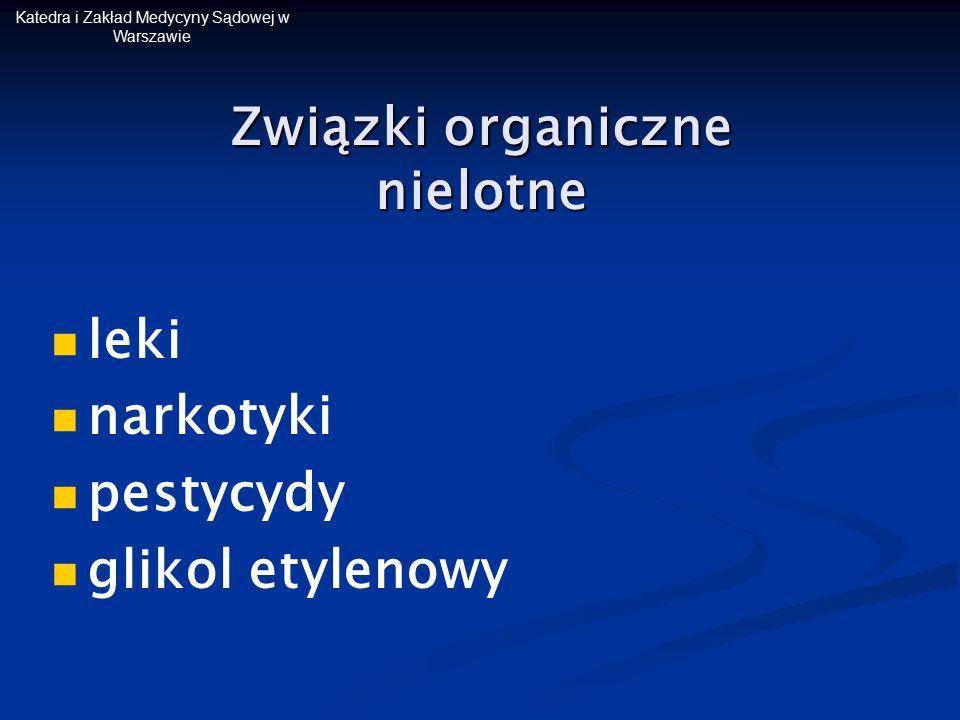 Katedra i Zakład Medycyny Sądowej w Warszawie leki narkotyki pestycydy glikol etylenowy Związki organiczne nielotne