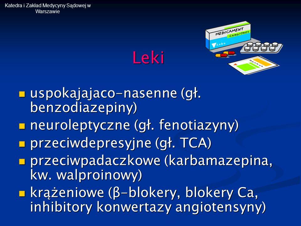 Katedra i Zakład Medycyny Sądowej w WarszawieLeki uspokajajaco-nasenne (gł. benzodiazepiny) uspokajajaco-nasenne (gł. benzodiazepiny) neuroleptyczne (