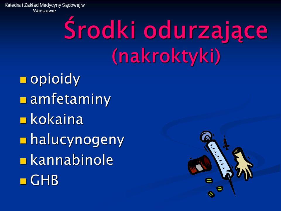 Środki odurzające (nakroktyki) opioidy opioidy amfetaminy amfetaminy kokaina kokaina halucynogeny halucynogeny kannabinole kannabinole GHB GHB