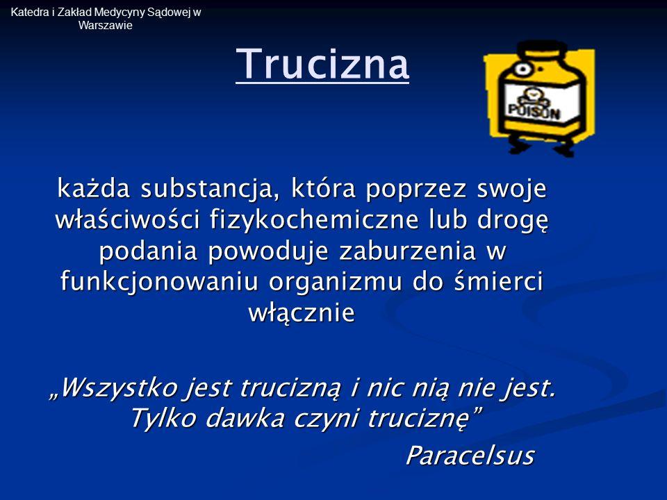 Katedra i Zakład Medycyny Sądowej w Warszawie Ksenobiotyk substancja nie będąca naturalnym składnikiem organizmu, obca, egzogenna ksenobiotykami jest większość trucizn i leków, a także związki wytworzone przez człowieka i wprowadzone do środowiska