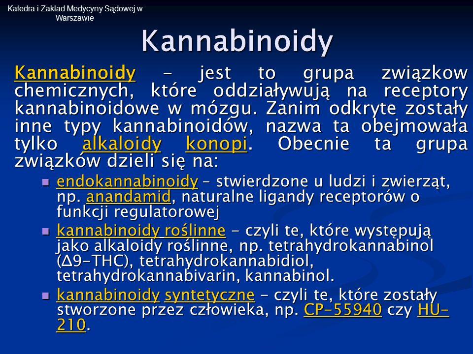 Katedra i Zakład Medycyny Sądowej w WarszawieKannabinoidy Kannabinoidy - jest to grupa związkow chemicznych, które oddziaływują na receptory kannabino