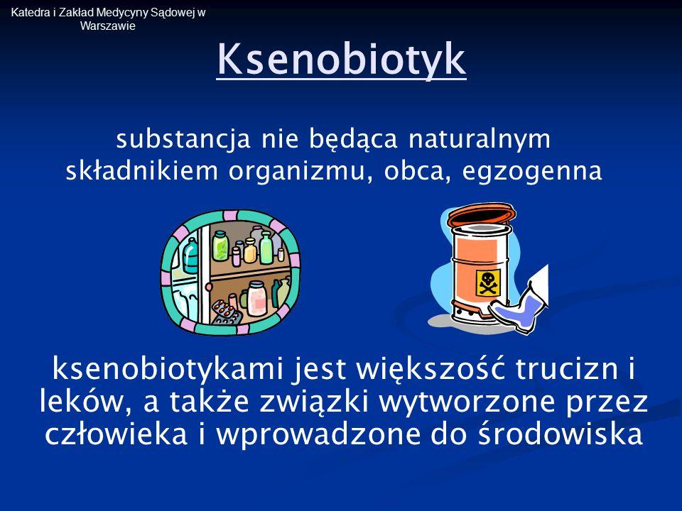 Katedra i Zakład Medycyny Sądowej w Warszawie Ksenobiotyk substancja nie będąca naturalnym składnikiem organizmu, obca, egzogenna ksenobiotykami jest