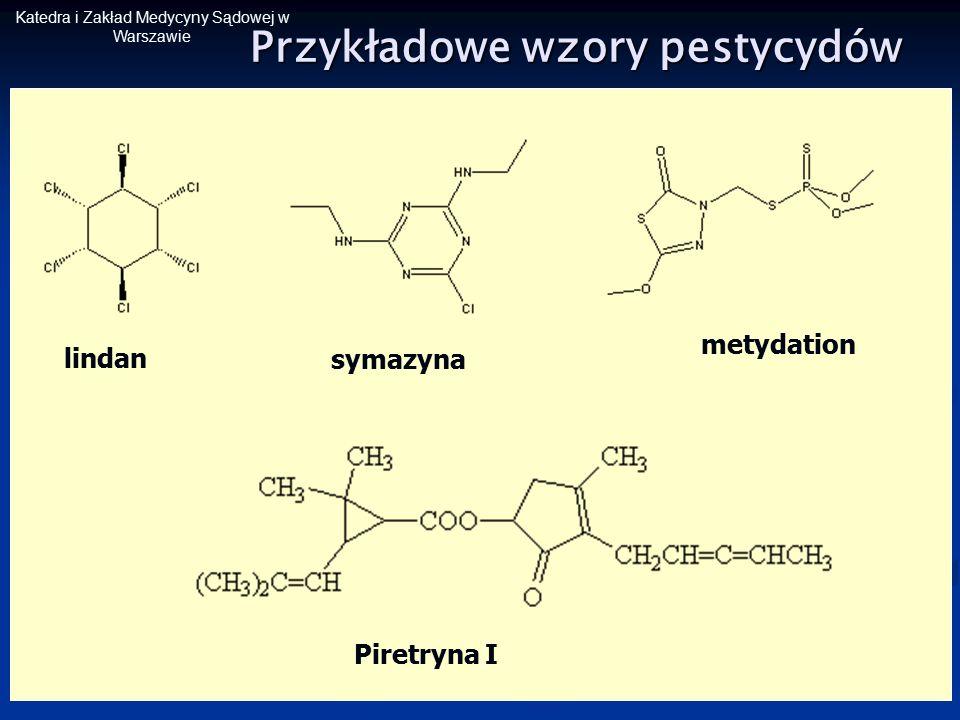 Katedra i Zakład Medycyny Sądowej w Warszawie Przykładowe wzory pestycydów lindan metydation symazyna Piretryna I