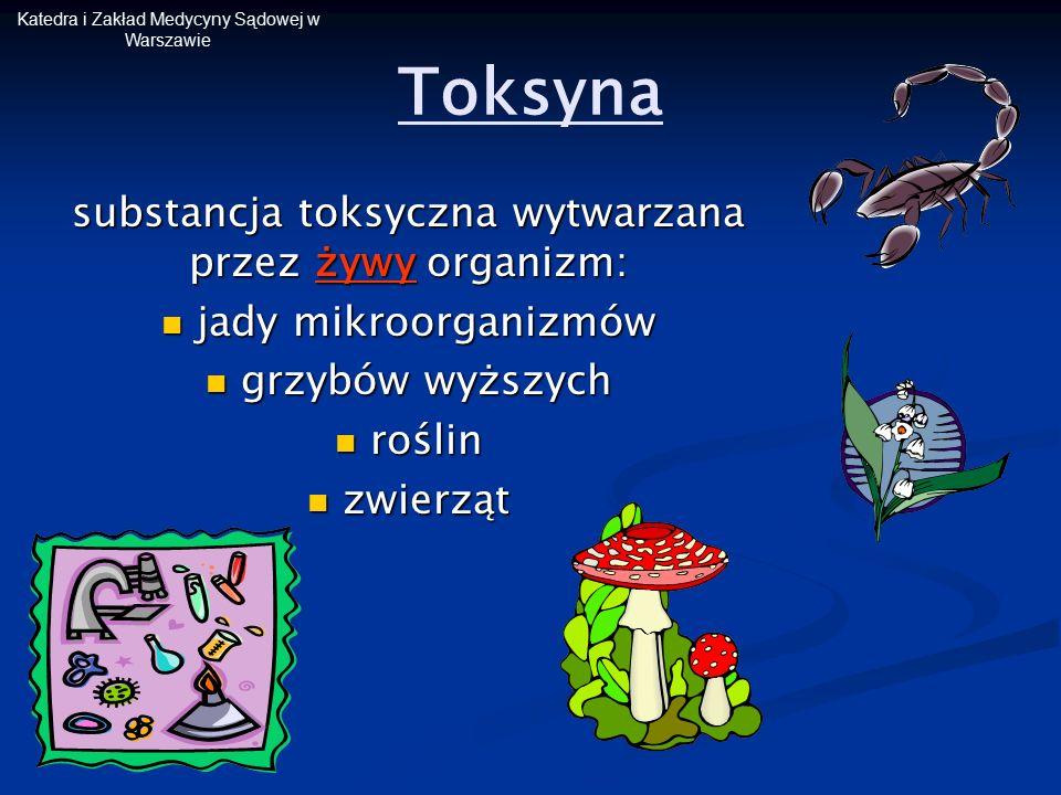 Katedra i Zakład Medycyny Sądowej w Warszawie Toksyna substancja toksyczna wytwarzana przez żywy organizm: jady mikroorganizmów jady mikroorganizmów g