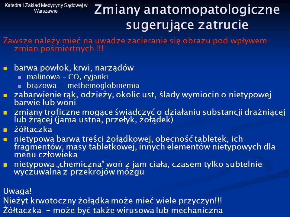 Katedra i Zakład Medycyny Sądowej w Warszawie Zmiany anatomopatologiczne sugerujące zatrucie Zawsze należy mieć na uwadze zacieranie się obrazu pod wp