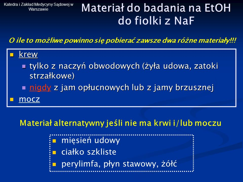 Materiał do badania na EtOH Materiał do badania na EtOH do fiolki z NaF krew krew tylko z naczyń obwodowych (żyła udowa, zatoki strzałkowe) tylko z na