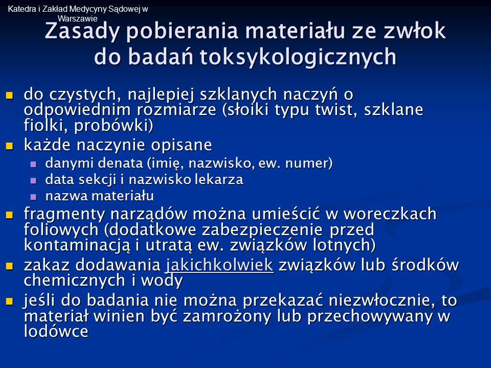 Katedra i Zakład Medycyny Sądowej w Warszawie Zasady pobierania materiału ze zwłok do badań toksykologicznych do czystych, najlepiej szklanych naczyń