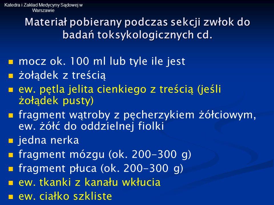 Katedra i Zakład Medycyny Sądowej w Warszawie Materiał pobierany podczas sekcji zwłok do badań toksykologicznych cd. mocz ok. 100 ml lub tyle ile jest