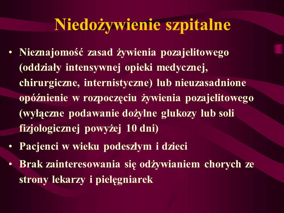 Niedożywienie szpitalne Nieznajomość zasad żywienia pozajelitowego (oddziały intensywnej opieki medycznej, chirurgiczne, internistyczne) lub nieuzasad